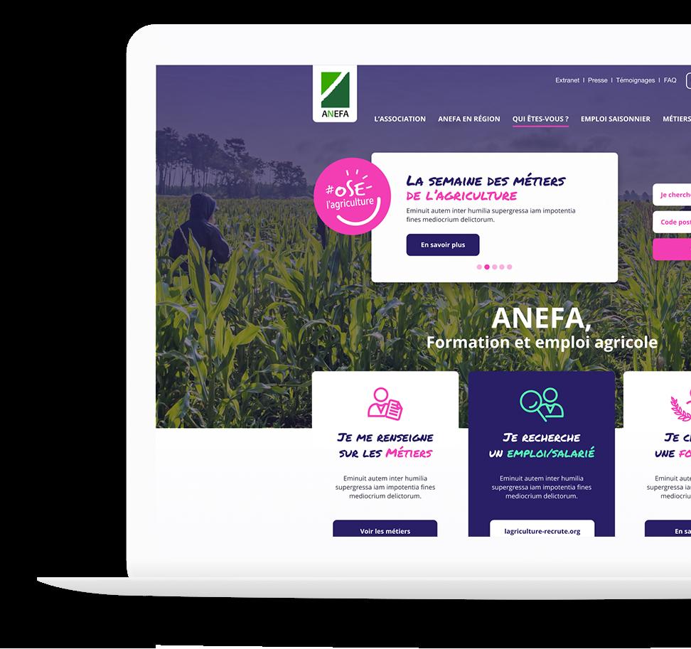 Projet de refonte de site internet pour l'Anefa par la Fabrik Unik